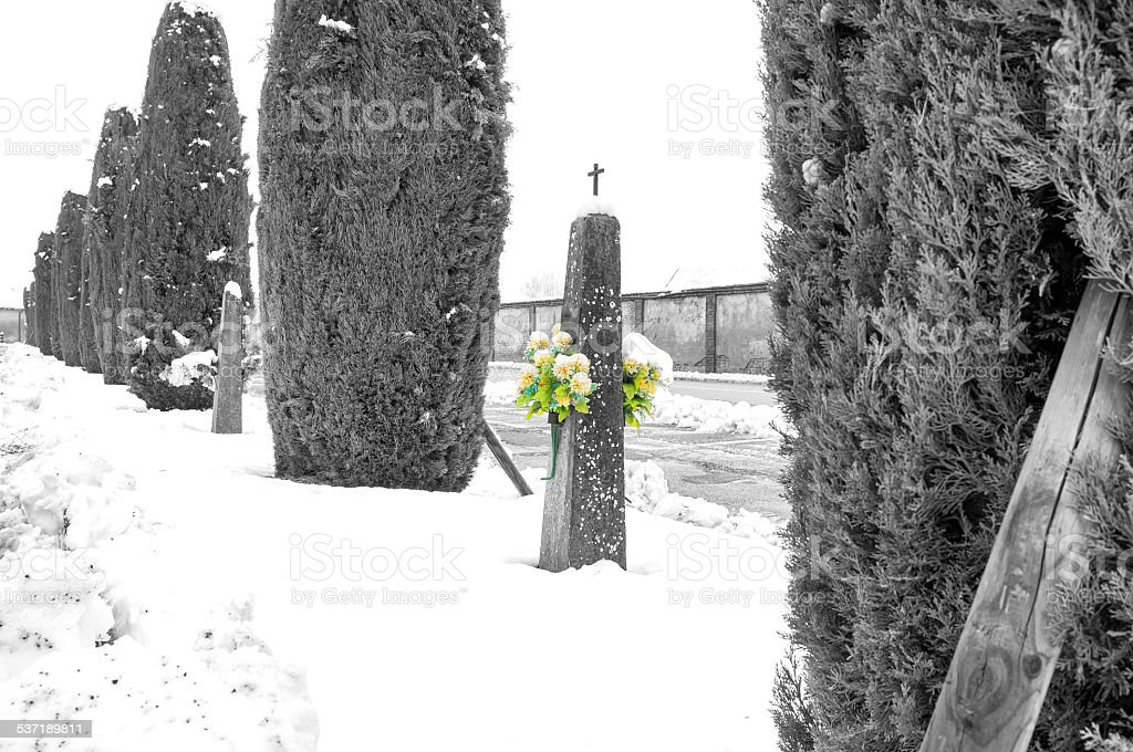 Countryside cemetery, winter landscape with snow. Black and white photo stock photo