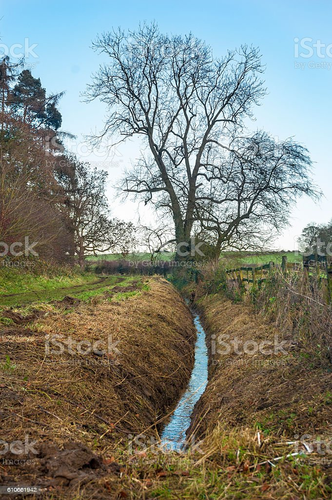 Countryside field drainage dyke in Winter stock photo