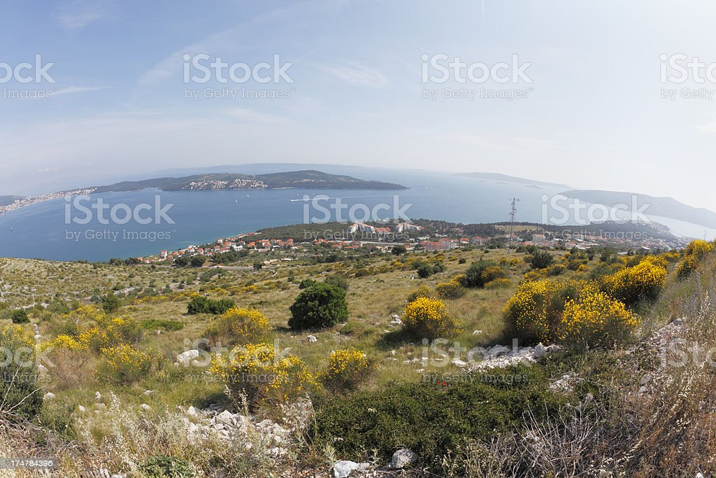 countryside hill fisheye view with island and flowers Zadar Croatia royalty-free stock photo