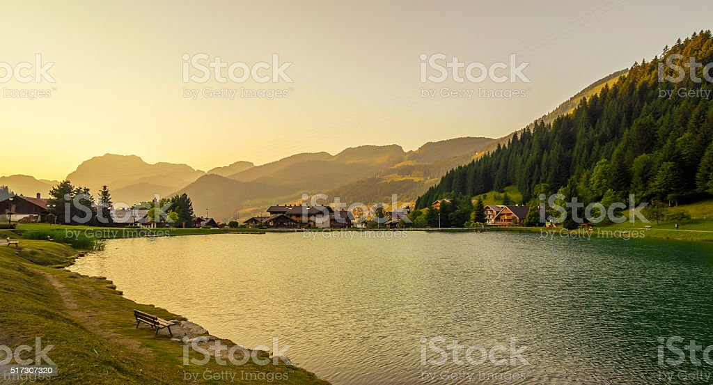 Countryside landscape in the Alps stock photo