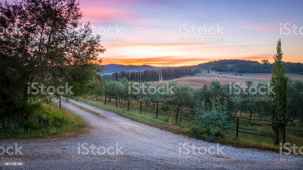 Countryside landscape in Tuscany stock photo