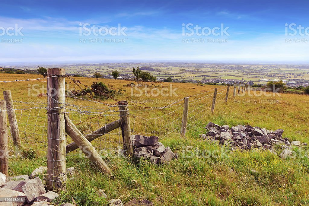 Countryside landscape with old fence stock photo