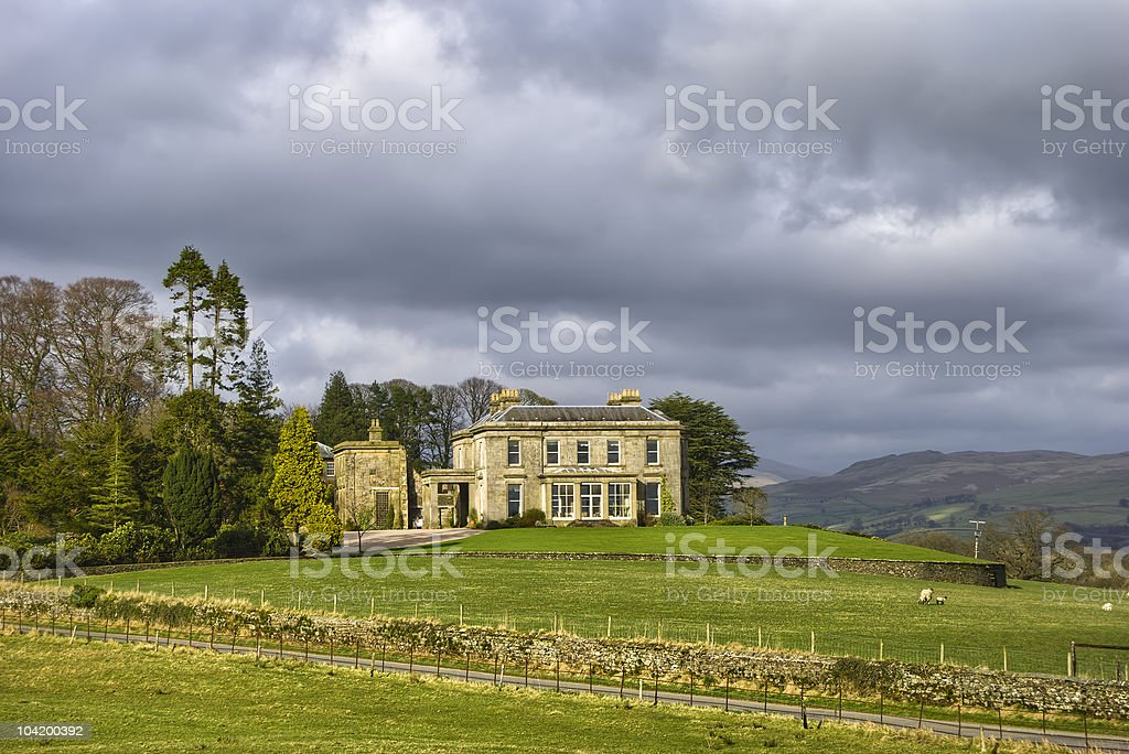 Countryside manor house stock photo