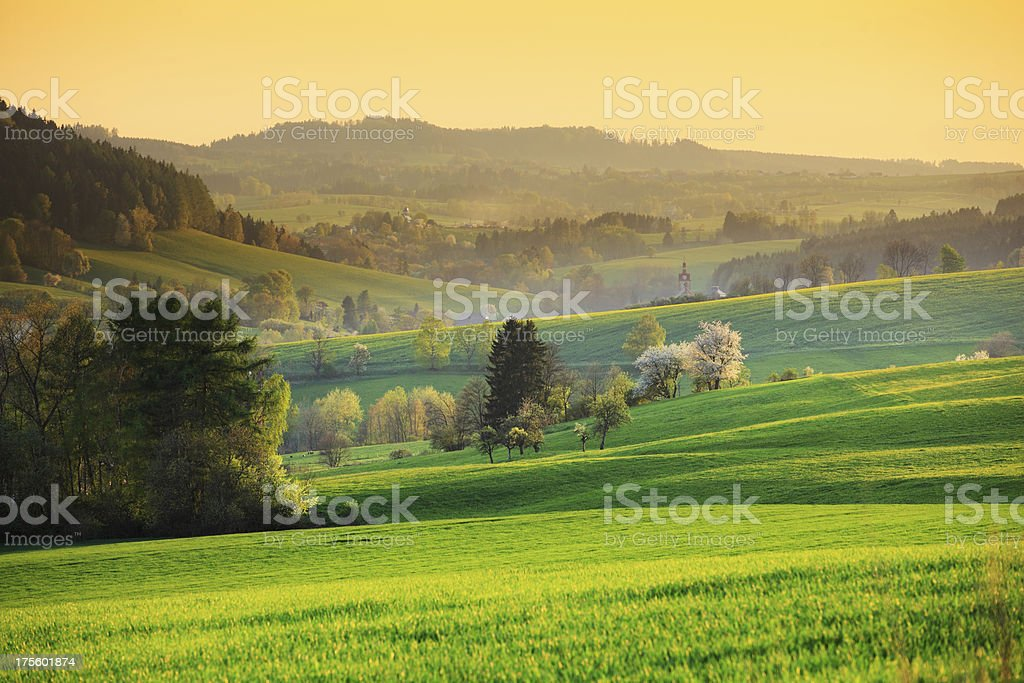 Countryside Mountain Landscape - Spring Sunset royalty-free stock photo