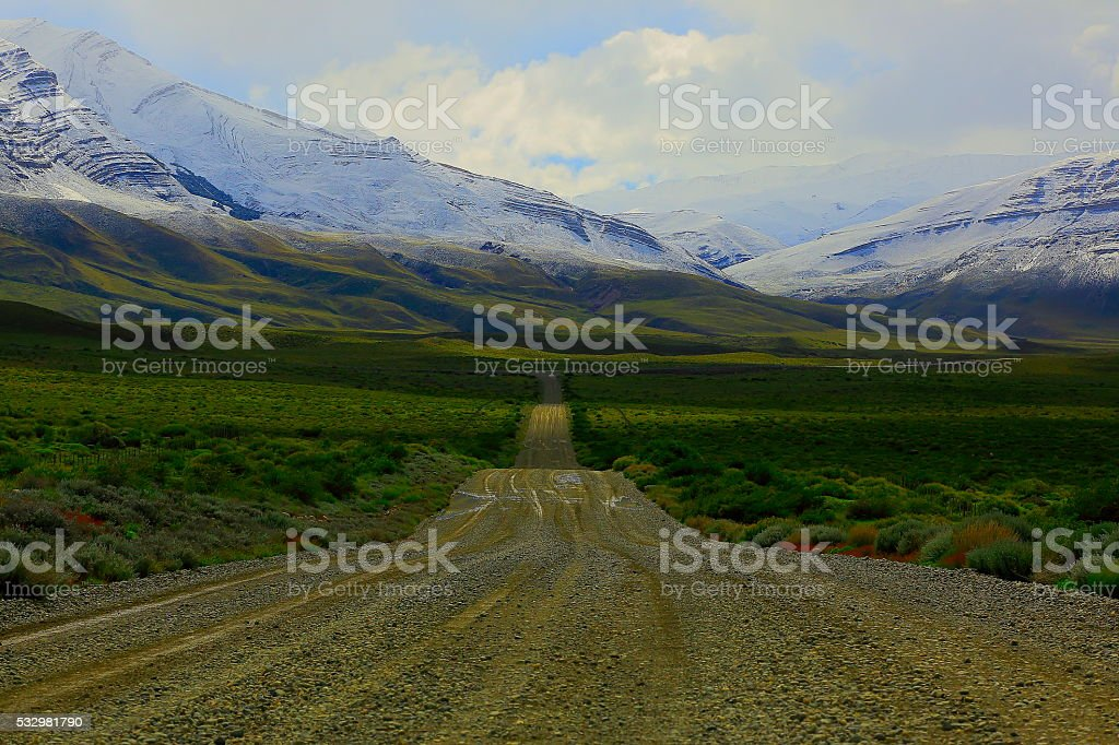 Countryside mountain Road near Chalten, Patagonia Argentina, Los Glaciares stock photo