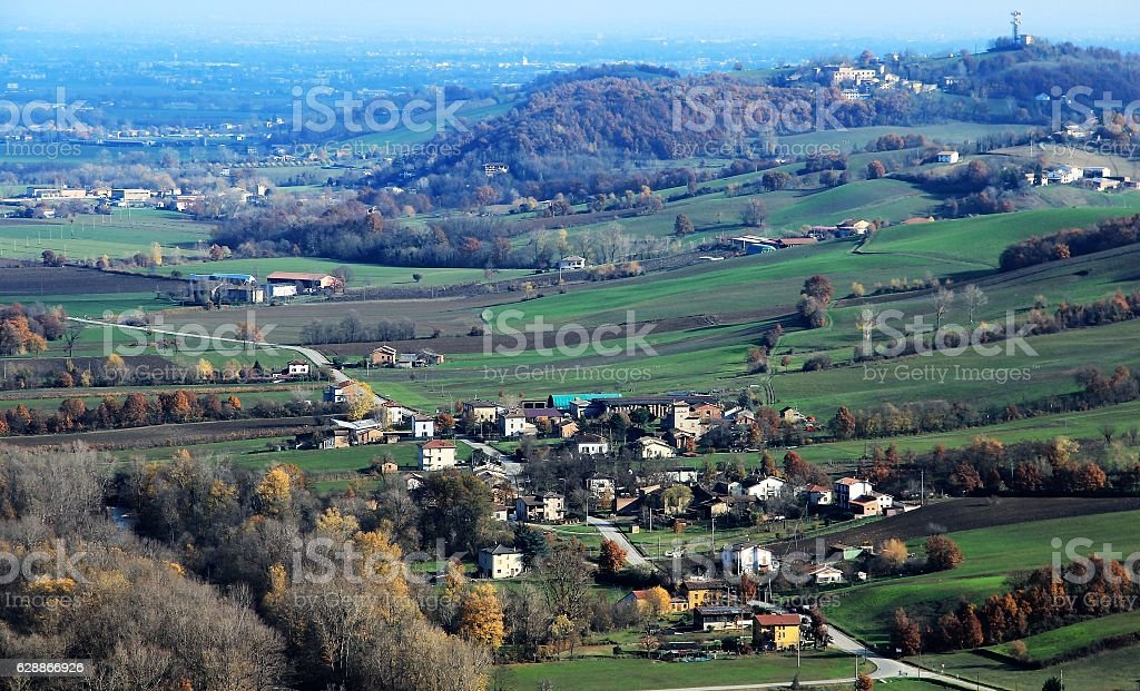 Countryside near Piacenza, northern Italy stock photo