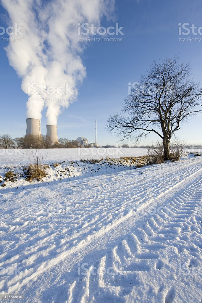Countryside nuclear power station and tree in winter (XXL) stock photo
