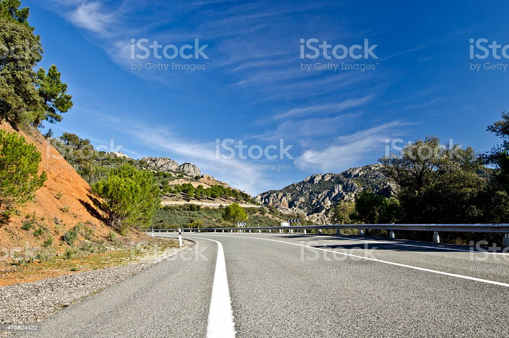 Countryside road in Despenaperros national park in Northern Andalusia stock photo