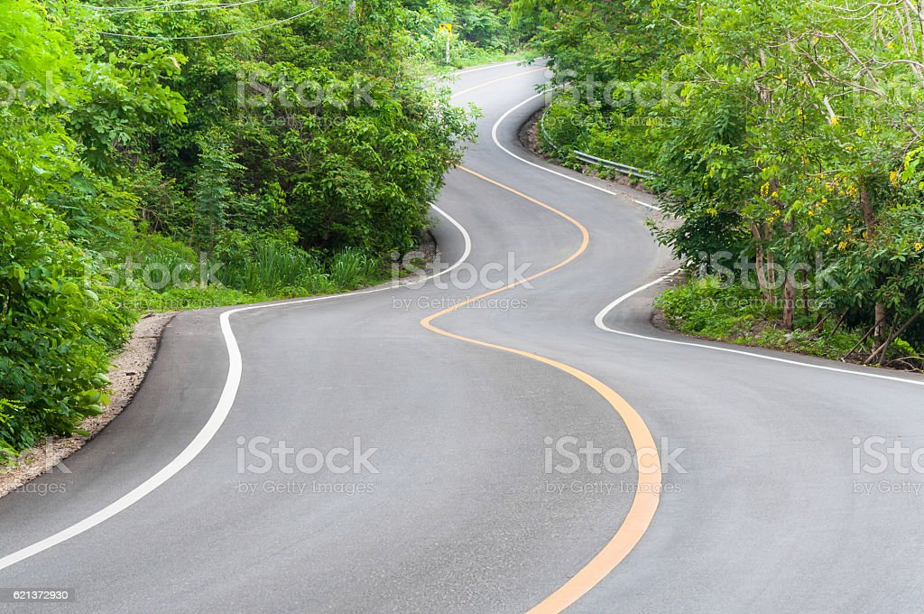 Countryside road with trees on both sides,Curve of the road stock photo