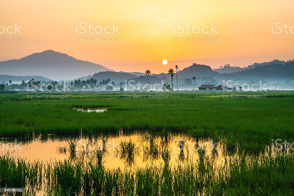 Countryside scenery in a tropical country stock photo