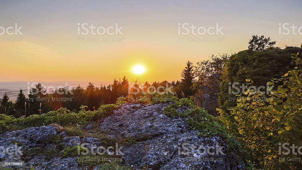 Countryside Summer Sunset Landscape stock photo