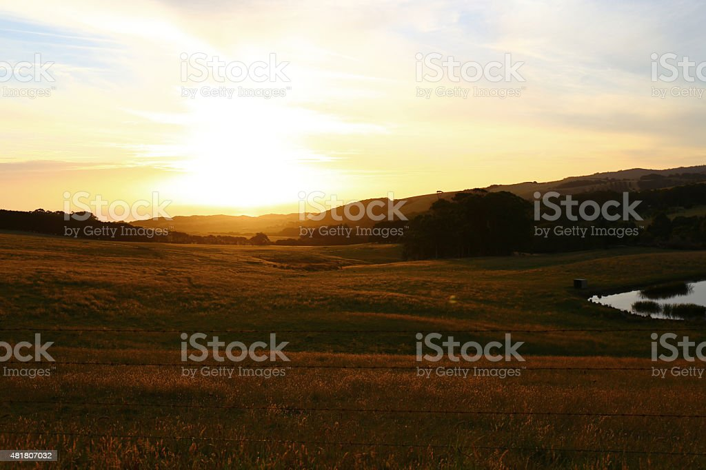 Countryside view at sunset stock photo