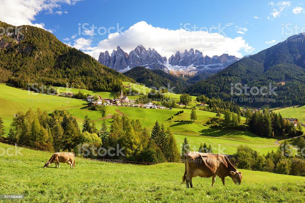Countryside view of the Funes valley, Bolzano, Italy, Europe. stock photo