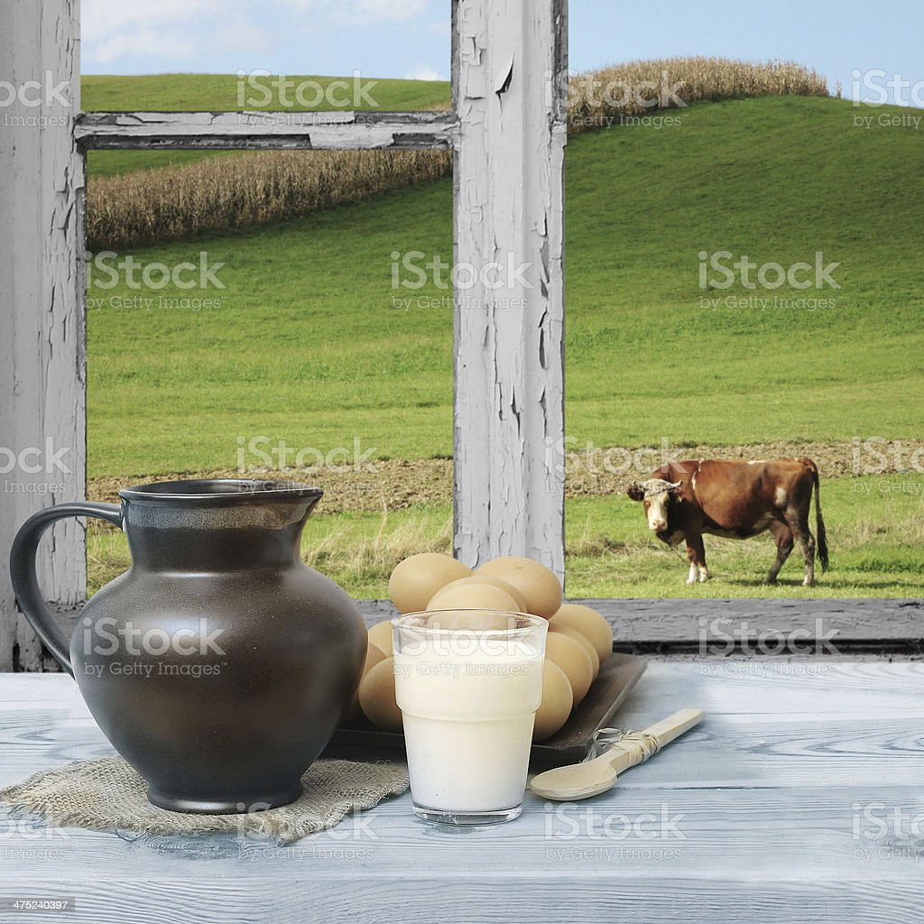 Countryside view of the meadow stock photo