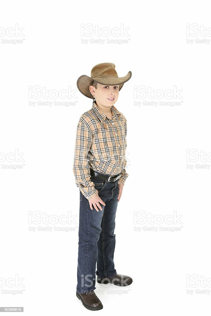 County boy wearing a cowboy hat stock photo