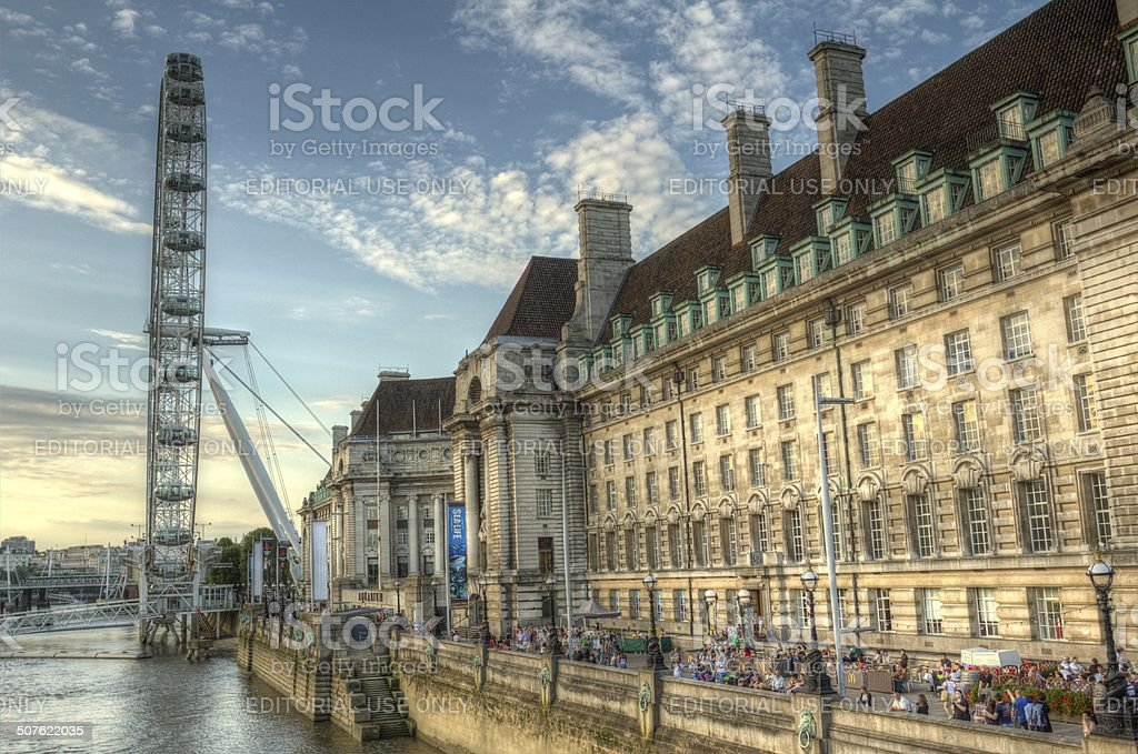 County Hall and London Eye on the Thames stock photo