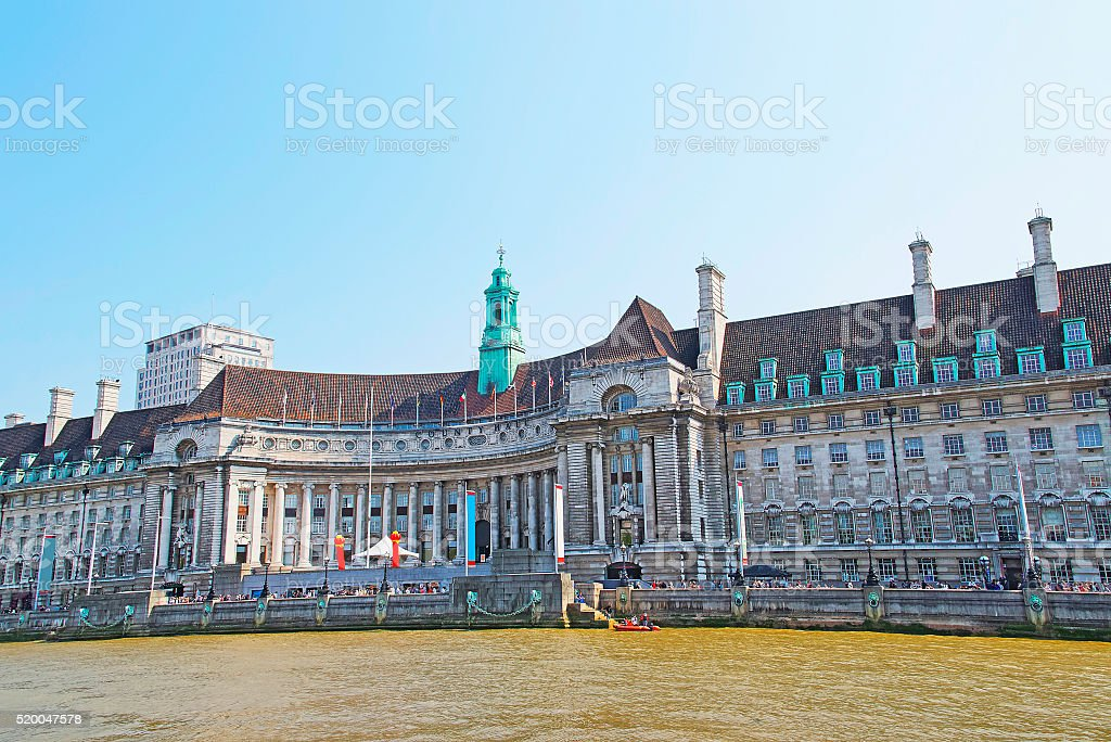 County Hall on River Thames in London stock photo