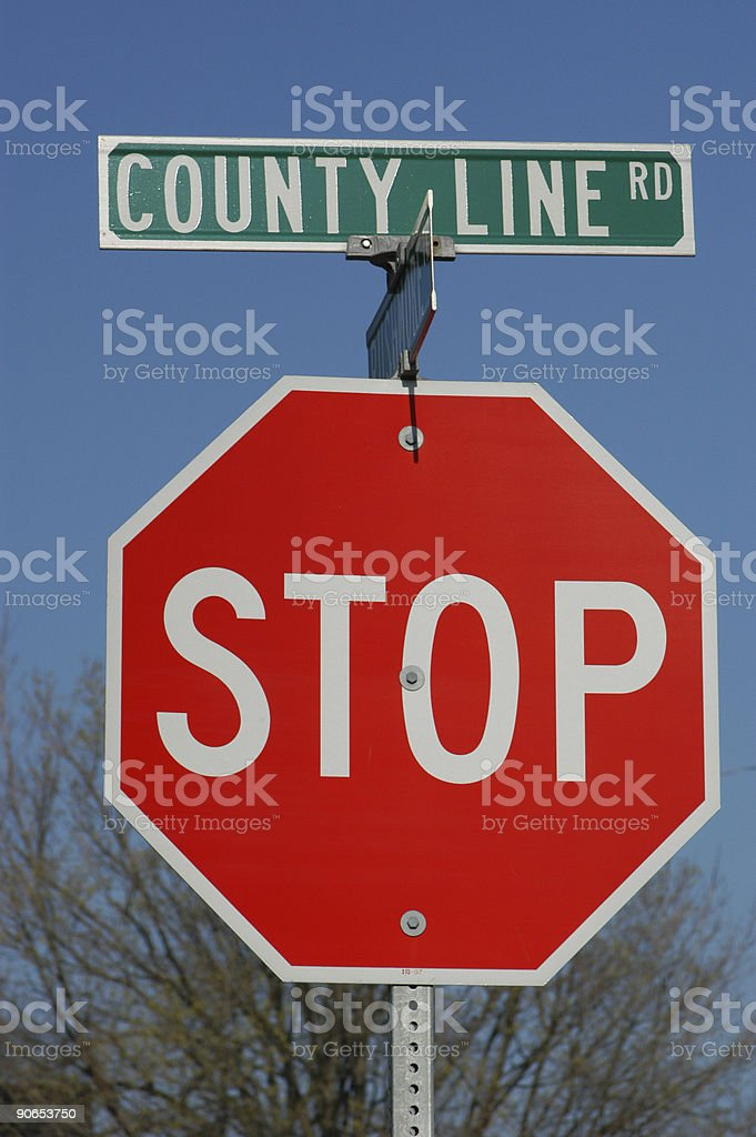 County Line Road & Stop Sign royalty-free stock photo