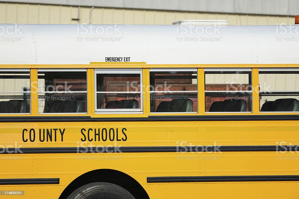 County school sign on bus royalty-free stock photo