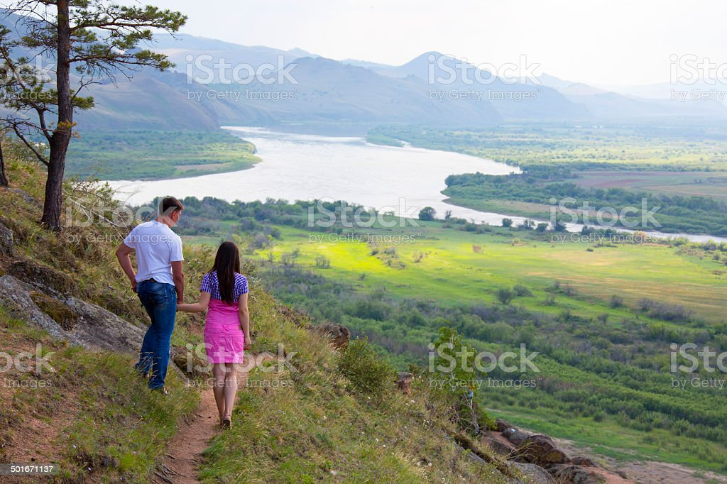 Coupe walking on the nature royalty-free stock photo