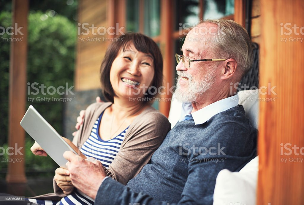 Couple Adult Happiness Laughing Holiday Concept stock photo