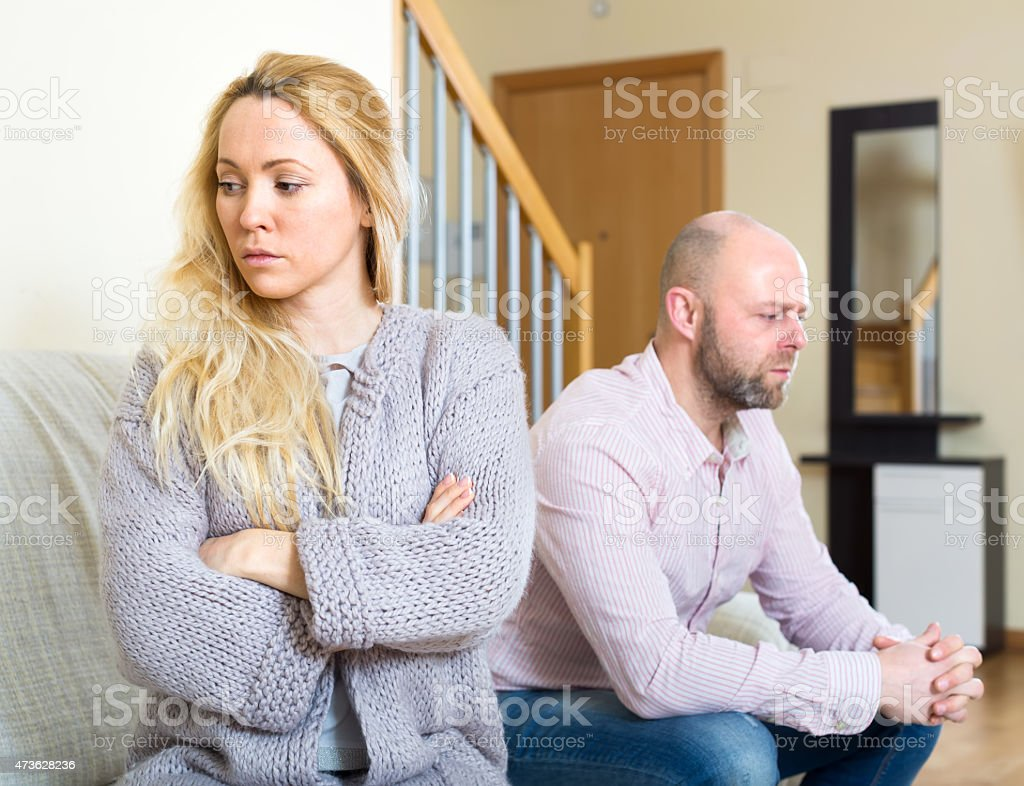 Couple after a conflict stock photo