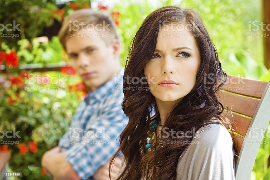 Couple after a fight royalty-free stock photo