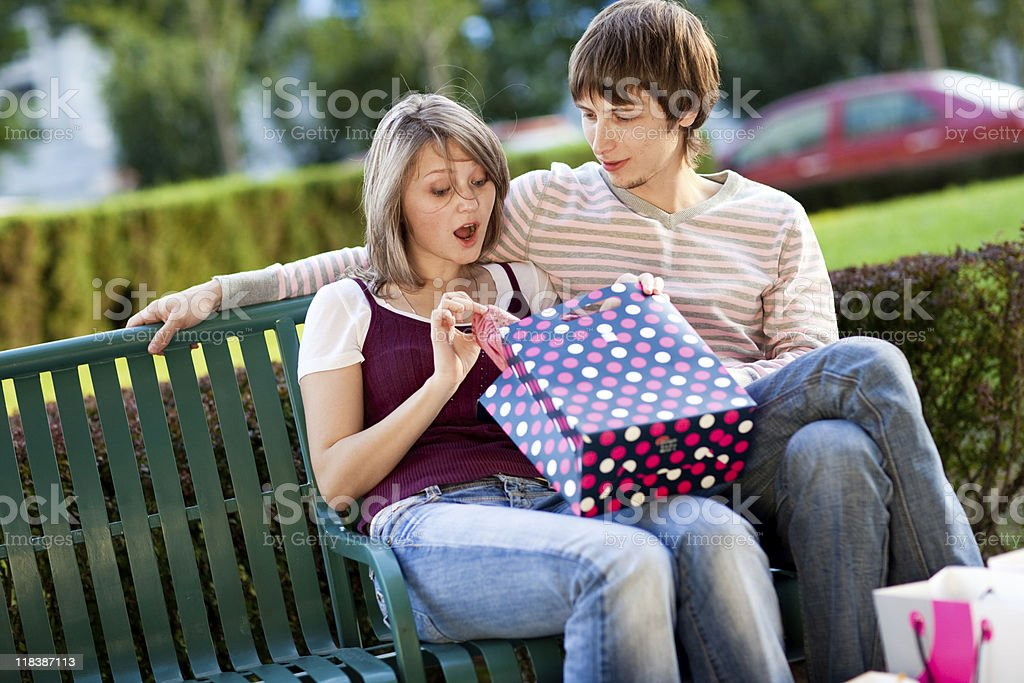 Couple after shopping stock photo