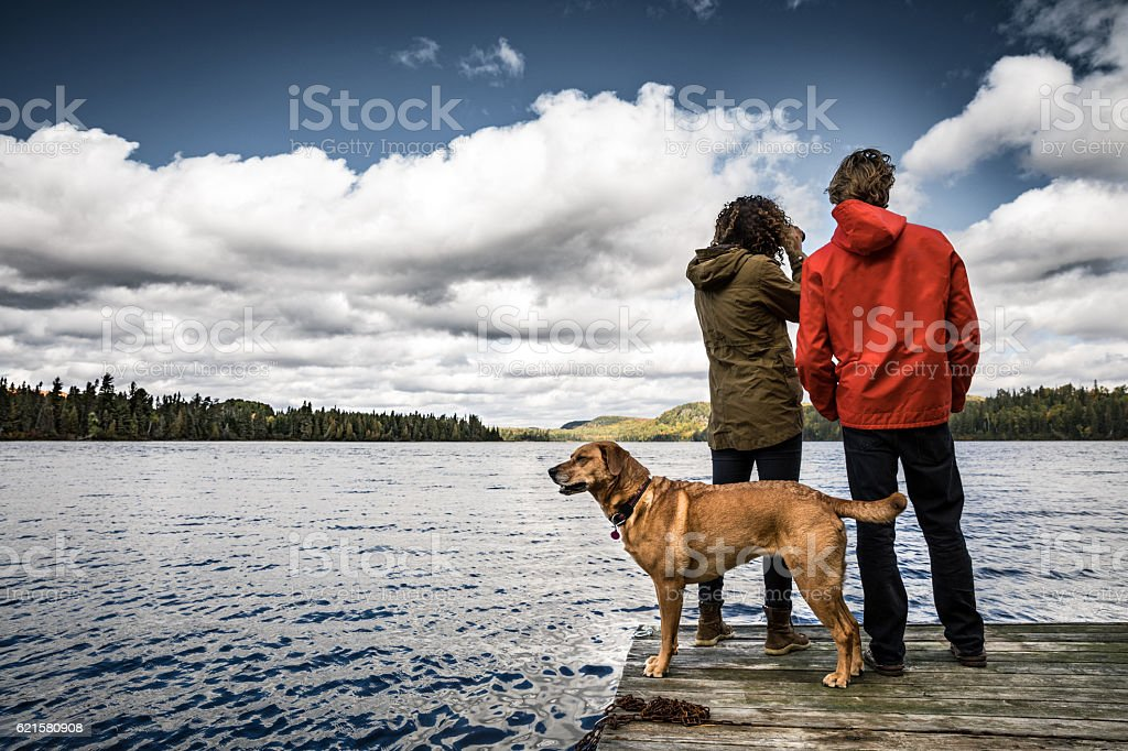 Couple amazed by the uncontaminated nature stock photo