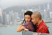 Couple and Hong Kong skyline