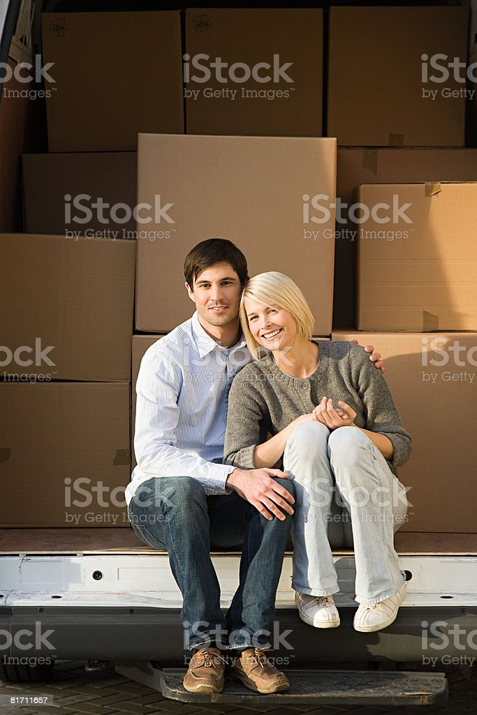Couple and removals van royalty-free stock photo