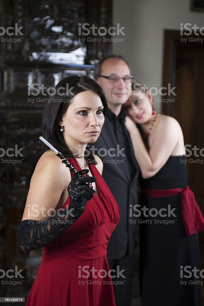 Couple and woman at party single royalty-free stock photo