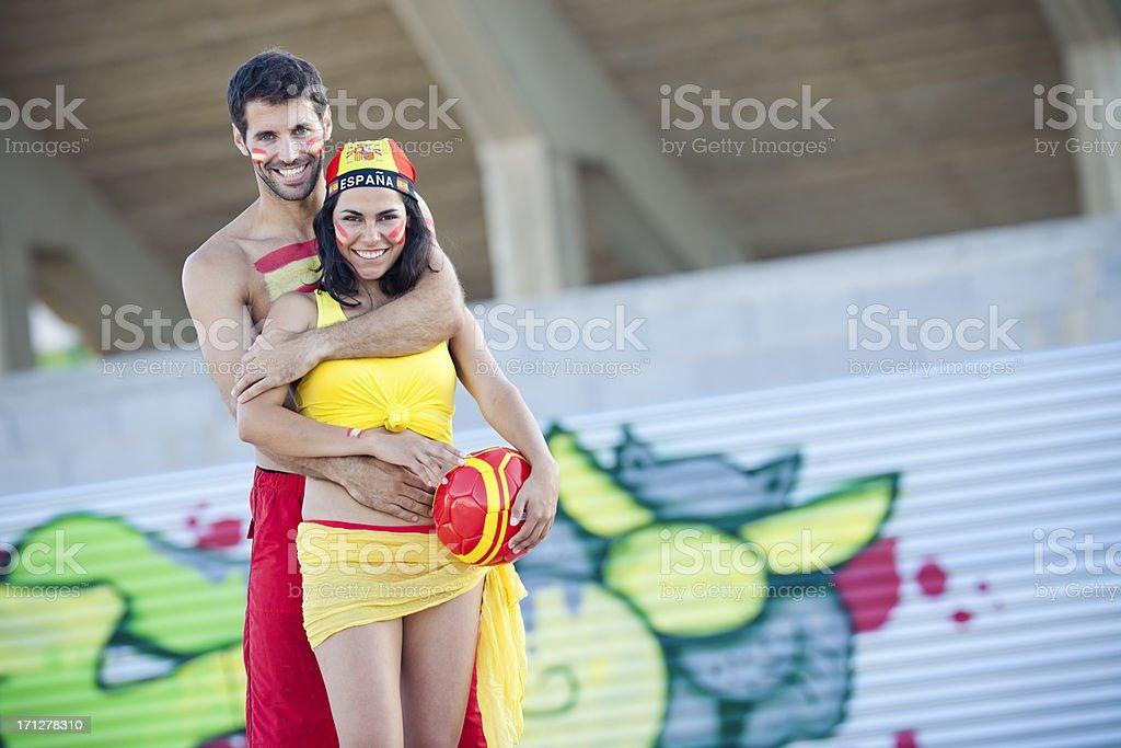 couple as spanish football fans stock photo