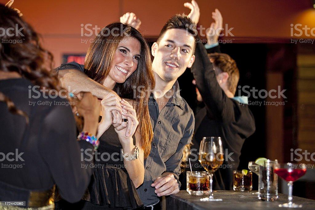 Couple at a bar stock photo