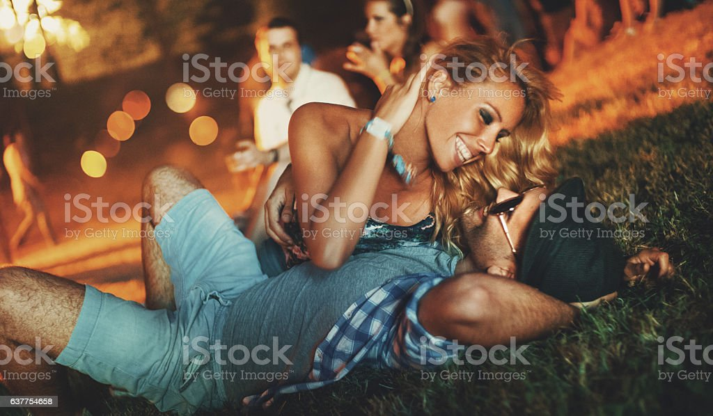 Couple at a concert. stock photo