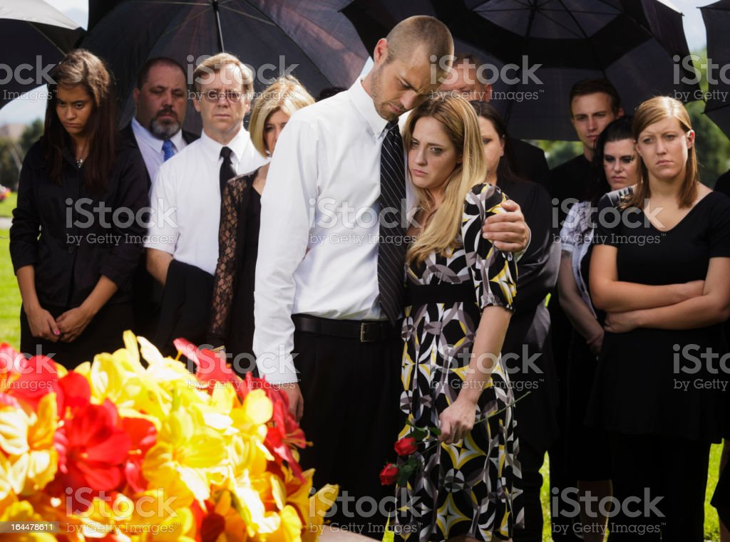 Couple at a Funeral stock photo