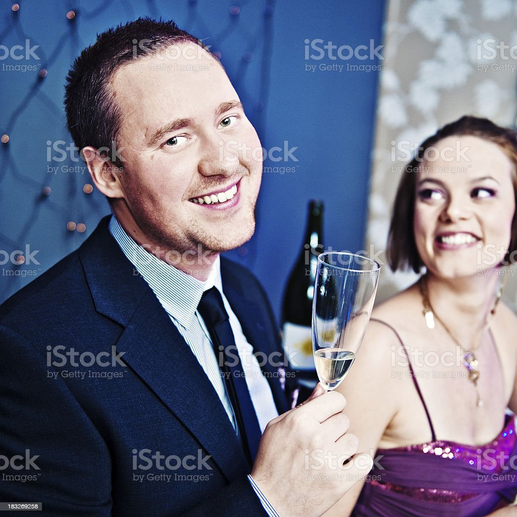 Couple at a new years party royalty-free stock photo