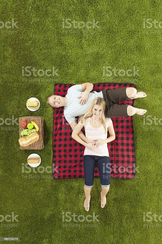 Couple at a picnic royalty-free stock photo