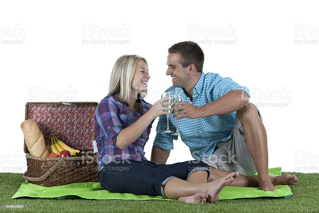 Couple at a picnic royalty-free stock photo