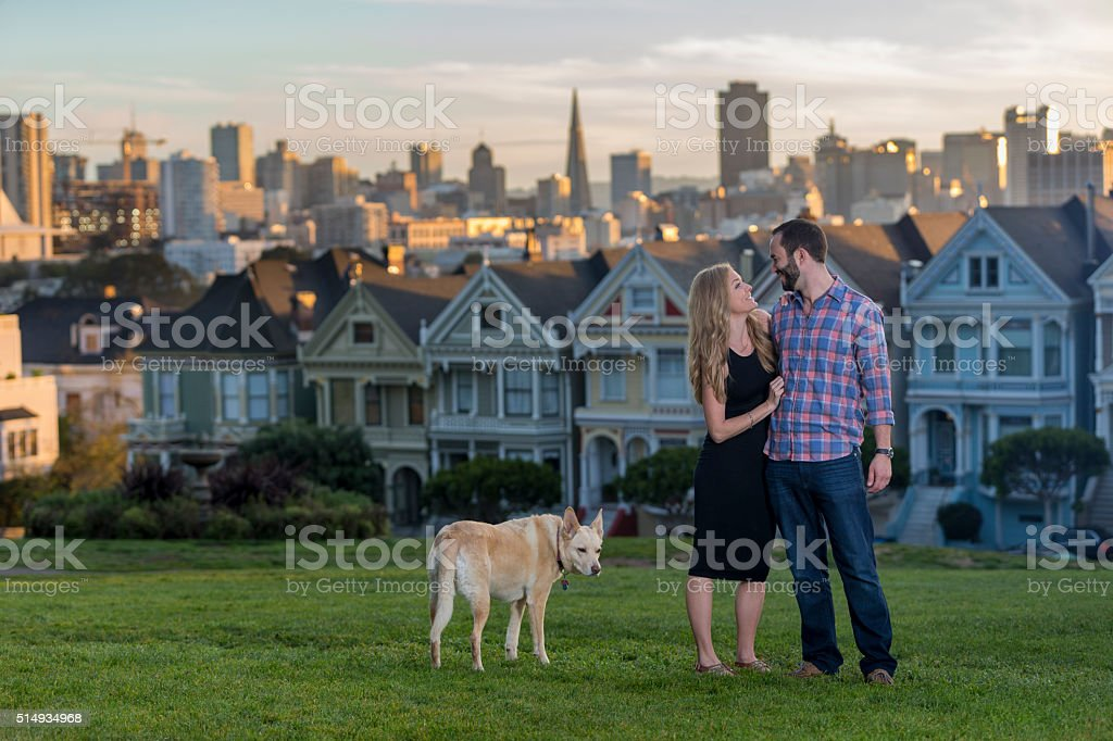 Couple  at Alamo square  San Francisco stock photo