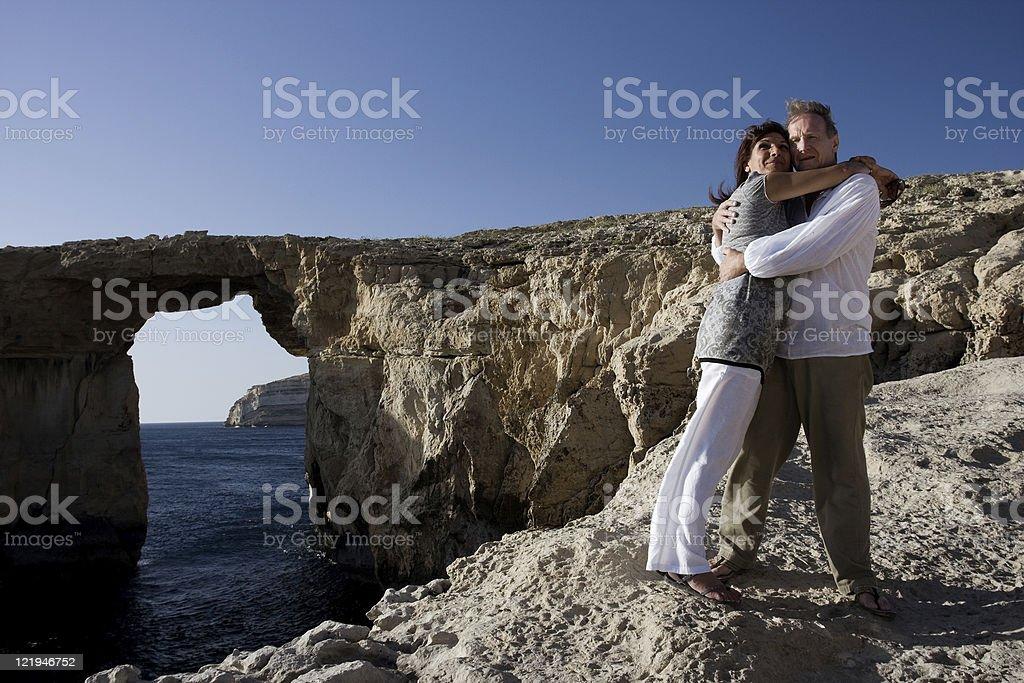 Couple at Azure Window stock photo