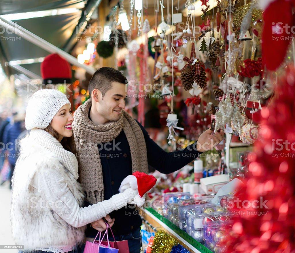 Couple at Christmas market stock photo