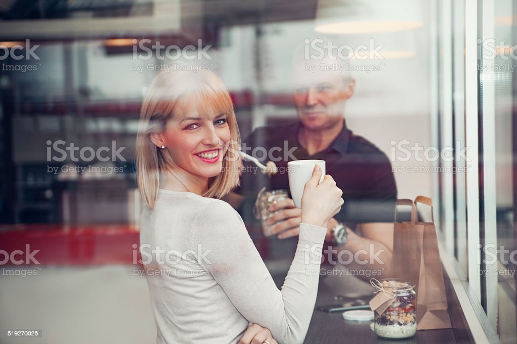 Couple At Gas Station Cafe stock photo