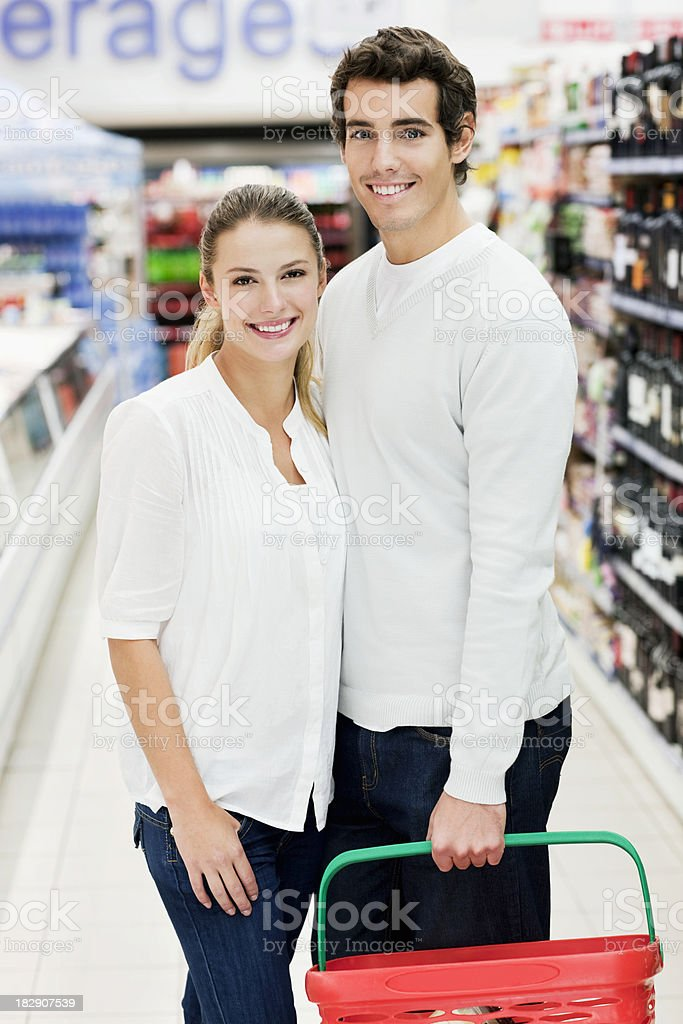 Couple at Grocery Store royalty-free stock photo