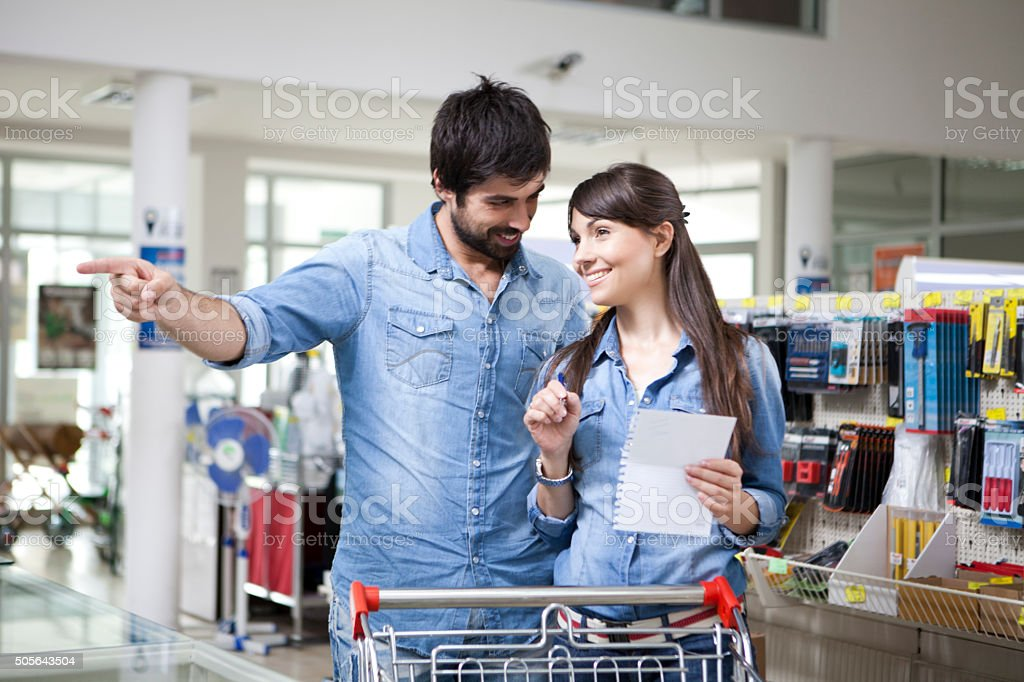 Couple at Hardware store stock photo