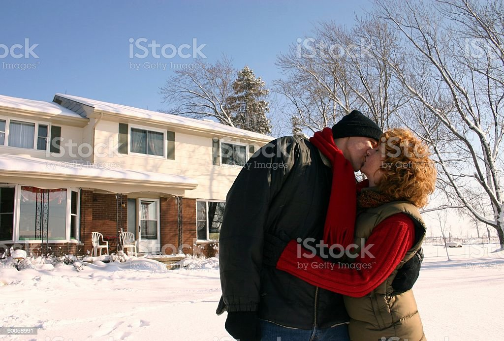 couple at home in the winter royalty-free stock photo