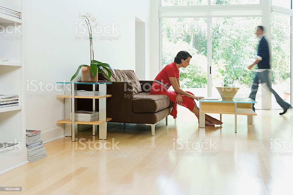 Couple at home stock photo