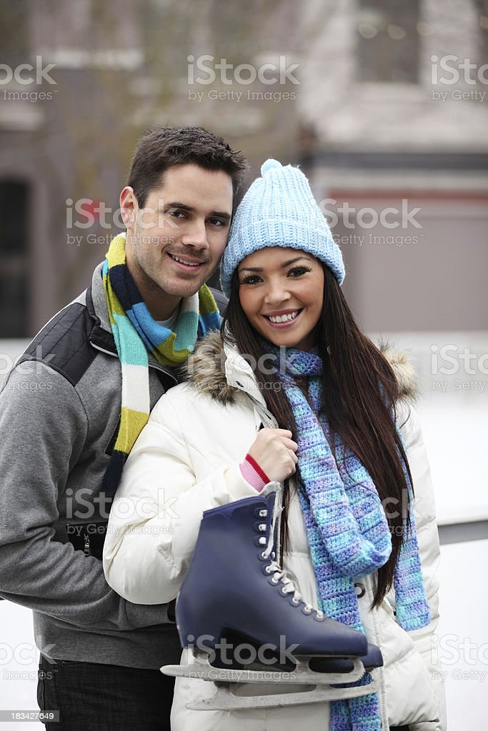 Couple At Ice Rink stock photo
