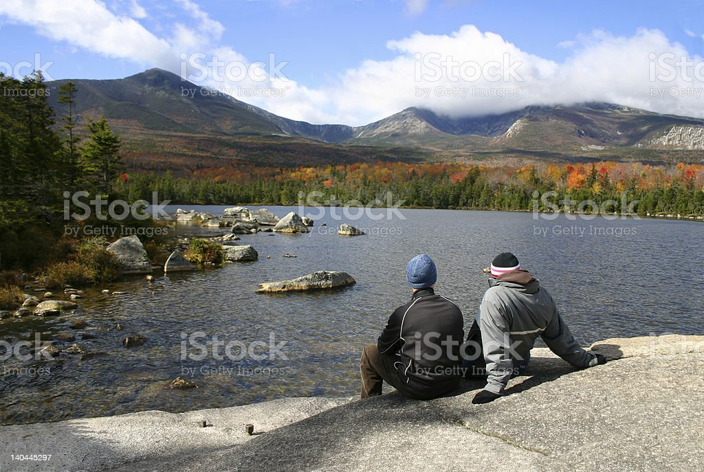 Couple at Katahdin - Maine stock photo
