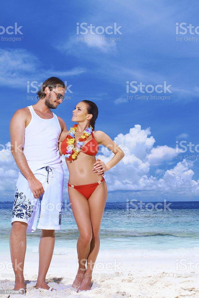 Couple at Maldives stock photo